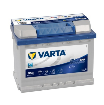 Bilbatteri 12V 60Ah Varta D53EFB Blue Dynamic LxBxH=242x175x190mm