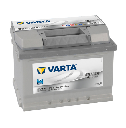 Bilbatteri 12V 61Ah Varta Silver Dynamic D21 LxBxH=242x175x175mm