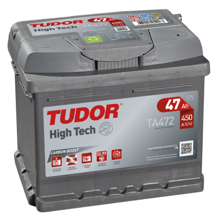 Startbatteri 47Ah Tudor Exide TA472 High Tech. LxBxH:207x175x175mm