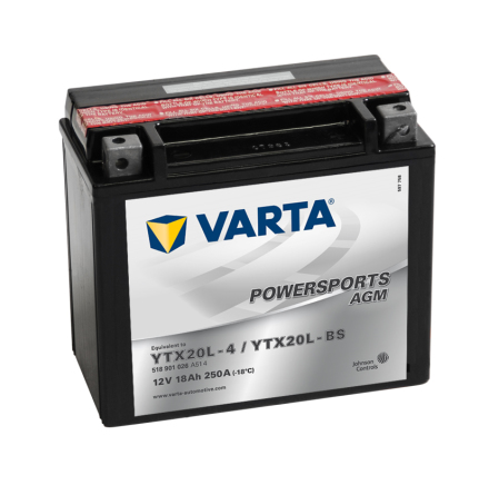 MC-batteri 18Ah YTX20L-4 YTX20L-BS  Varta AGM lxbxh=177x88x156mm