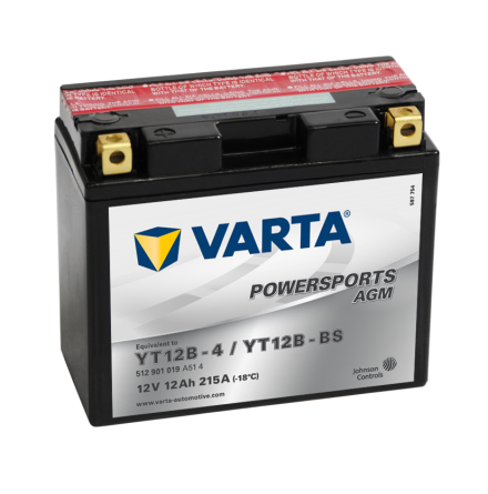 MC-batteri 12 Ah YT12B-4/YT12B-BS Varta AGM lxbxh=150x70x131mm