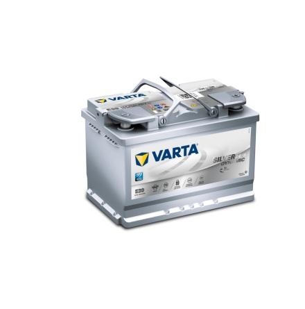 Bilbatteri 12V 70Ah Varta Silver Dynamic E39 AGM. LxBxH=278c175x190mm