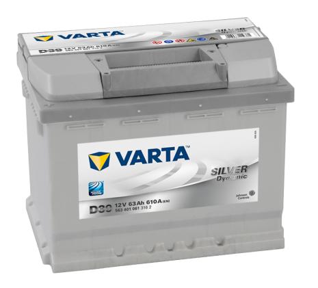 Bilbatteri 12V 63Ah Varta D39 LxBxH=242x175x190mm Silver Dynamic 563401061