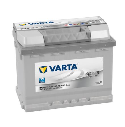 Bilbatteri 12V 63Ah Varta D15 Silver Dynamic LxBxH=242x175x190mm 563400061