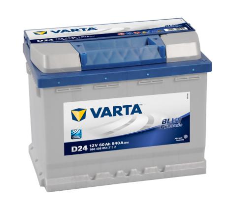 Bilbatteri 12V 60Ah Varta Blue Dynamic D24 LxBxH=242x175x190mm 560408054
