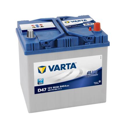 Bilbatteri 12V 60Ah Varta D47  Blue Dynamic LxBxH=232x173x225mm 560410054
