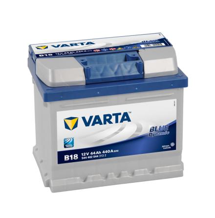 Bilbatteri 12V 44Ah Varta Blue Dynamic B18 LxBxH=207x175x175mm 544402044