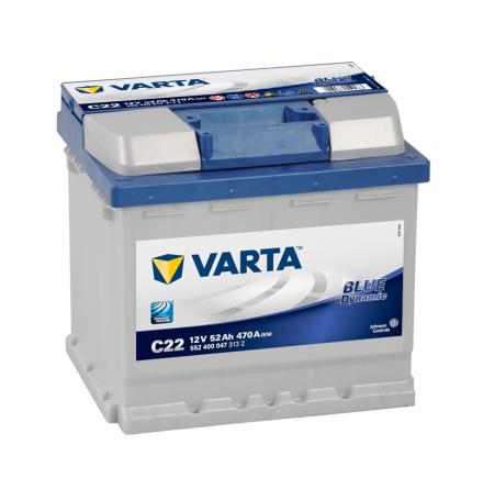 Bilbatteri 12V 52Ah Varta Blue Dynamic C22 LxBxH=207x175x190mm 552400047
