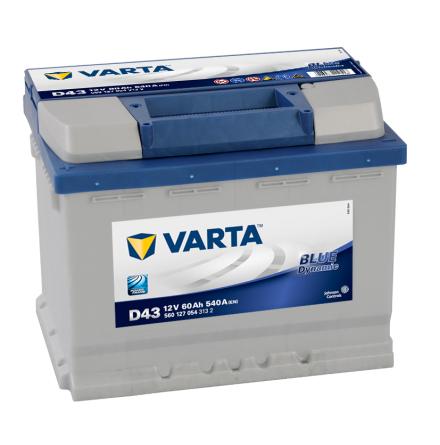 Bilbatteri 12V 60Ah Varta D43  Blue Dynamic LxBxH=242x175x190mm 560127054