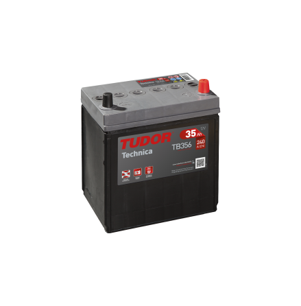Startbatteri 35Ah Tudor Exide TB356 Technica. LxBxH:187x127x220mm