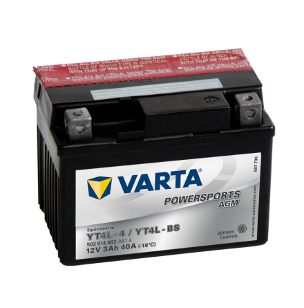 MC-batteri 3Ah YT4L-4 YTL-BS Varta AGM lxbxh=114x71x86mm