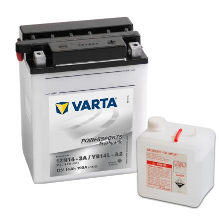 MC-batteri 14 Ah 12N14-3A, YB14L-A2 VARTA Powersports lxbxh=135x90x167mm