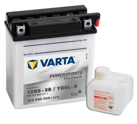 MC-batteri 5Ah 12N5-3B YB5L-B Varta lxbxh= 121x61x131mm Powersports 505012003