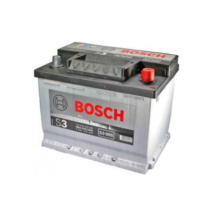 Bilbatteri 12V 56Ah Bosch S3005 DIN: 556400048 LxBxH:242x175x190mm. Se S4005( 0 092 S40 050)=ett högklassigare batteri till samma pris!