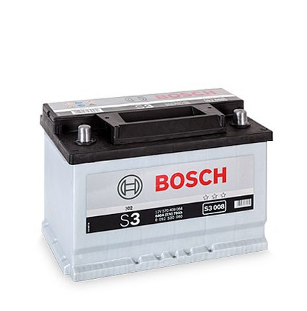 Bilbatteri 12V 70Ah Bosch S3008 DIN: 570409064 LxBxH:278x175x190mm