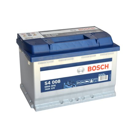 Bilbatteri 12V 74Ah Bosch S4008 DIN: 574012068 LxBxH:278x175x190mm