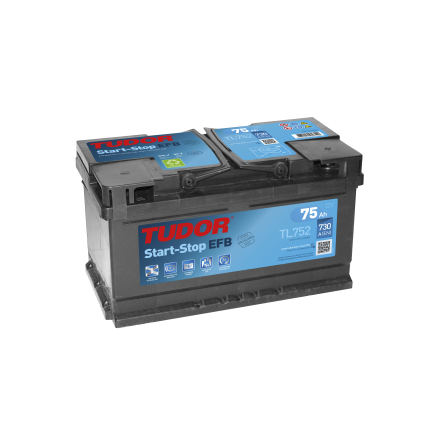 Startbatteri 75Ah EFB Tudor Exide TL752. LxBxH:315x175x175mm