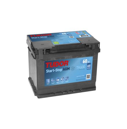 Startbatteri 60Ah Tudor START-STOP AGM TK600. LxBxH:242x175x190mm