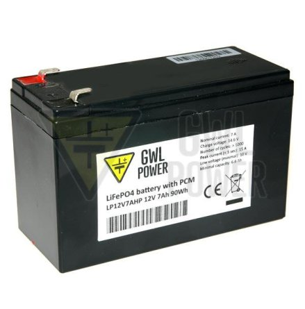 Lithium-Ion batteri(LiFePO4) 12V/7,0Ah med PCM