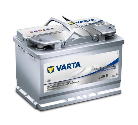 Fritidsbatteri 12V 70Ah Varta Professional LXBXH=278x175x190mm AGM LA70 Dual Purpose