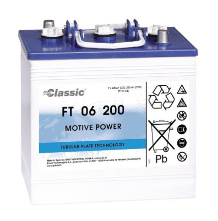 Truckbatteri Rörcellsbatteri Tudor Exide 6V180Ah LxBxH:263x182x269mm FT06200 hela 900 cykler Marathon Classic