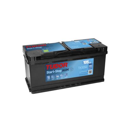 Startbatteri 105Ah Tudor START-STOP AGM TK1050. LxBxH:392x173x190mm
