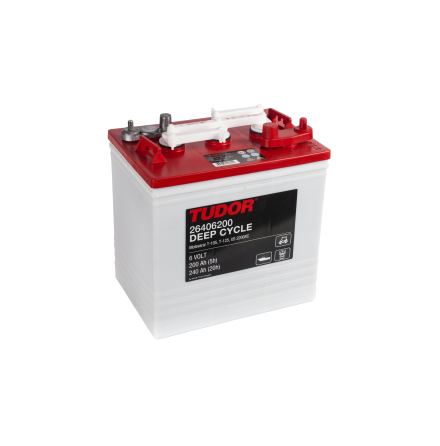 Deep-cycle batteri 6V 240 Ah TUDOR EXIDE motsvarar TROJAN T-125. 260x181x286mm=lxbxh.(höjden ink. pol.)