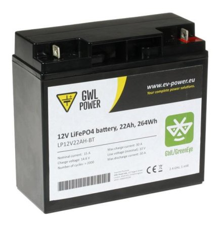 Lithium-Ion batteri(LiFePO4) 12,0V/22Ah med PCM och Bluetooth