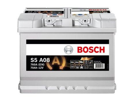 Bilbatteri AGM 12V 70Ah Bosch S6008 S5A08 LxBxH:278x175x190mm DIN:570901076