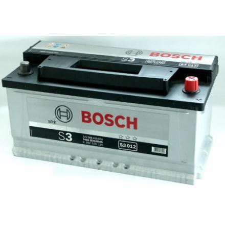 Bilbatteri 12V 88Ah Bosch S3012 ETN: 588 403 074 LxBxH:353x175x175mm