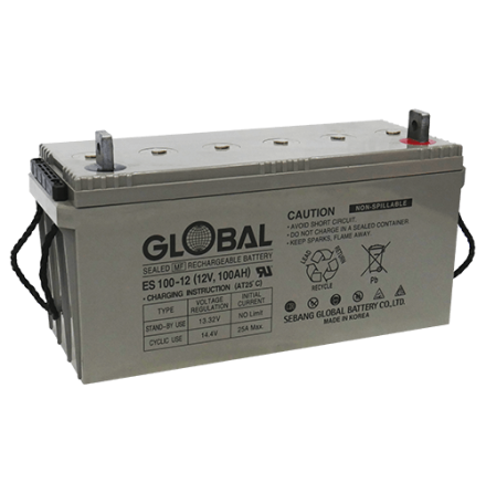 AGM Batteri Global 12V 108Ah 77270  LxBxH:484x169x204/237mm  ES100-12 7394086772702