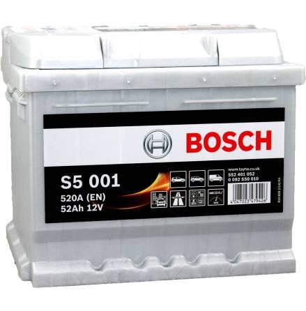 Bilbatteri 12V 52Ah Bosch S5001 DIN: 552401052 LxBxH:207x175x175mm