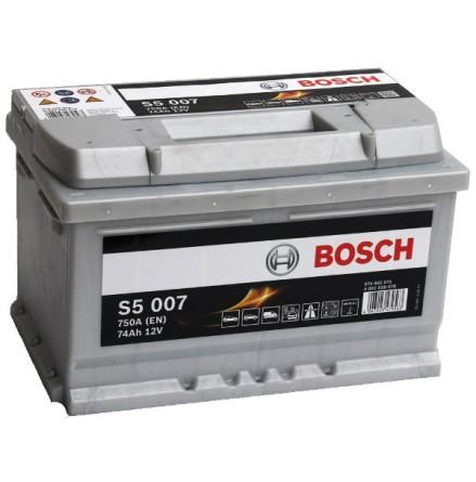 Bilbatteri 12V 74Ah Bosch S5007 DIN: 574402075 LxBxH:278x175x175mm