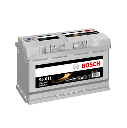 Bilbatteri 12V 85Ah Bosch S5011 ETN 585 400 080 LxBxH:315x175x190mm