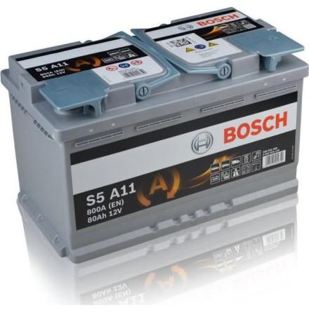 Bilbatteri AGM 12V 80Ah Bosch S6011 S5A11 LxBxH:315x175x190mm DIN:580901080
