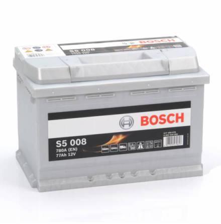 Bilbatteri 12V 77Ah Bosch S5008 DIN: 577400078 LxBxH:278x175x190mm