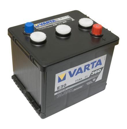 Bilbatteri Varta E30 Black Dynamic 6V 77Ah LxBxH=216x170x191mm  077015036 3122