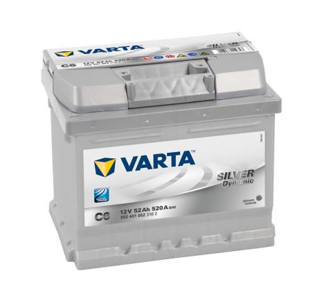 Bilbatteri 12V 52Ah Varta Silver Dynamic C6 LxBxH=207x175x175mm 552401052