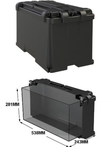 Batteribox stor innermått lxbxh 538x243x281mm