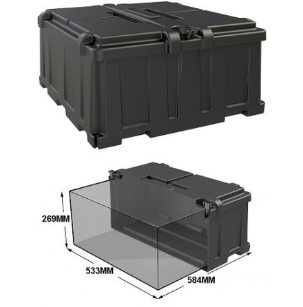 Batteribox innermått lxbxh 533x584x269mm