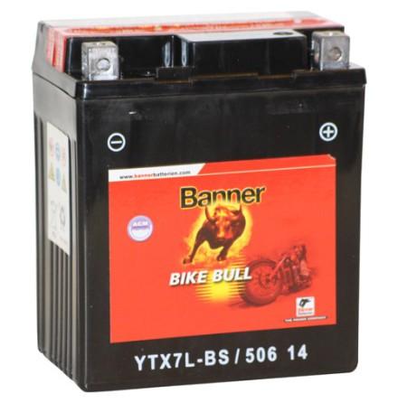 MC-batteri 6Ah YTX7L-BS Banner AGM 50614 LxBxH:114x70x130mm