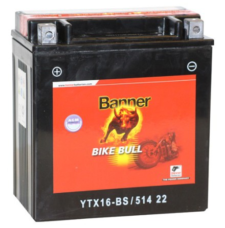 MC-batteri 14Ah YTX16-BS Banner AGM 51422 LxBxH:150x88x161mm