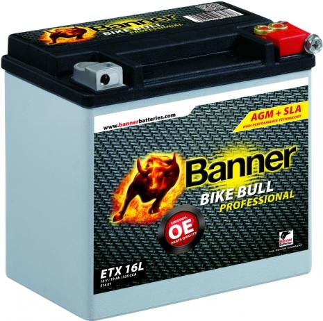 MC-batteri 19Ah ETX 16L Banner AGM PRO 51601 LxBxH:175x100x155mm med 325CCA(EN) i Starteffekt!