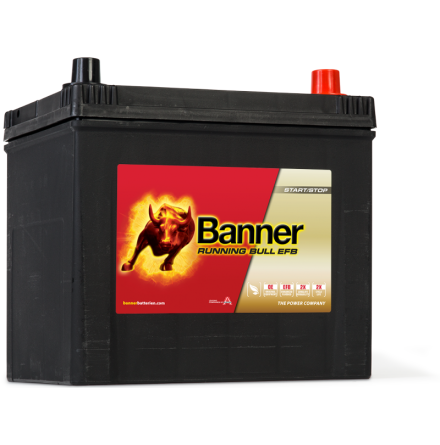Bilbatteri 12V 65Ah BannerRunningBull EFB 56500. LxBxH:233x173x203/225mm Banner bäst i Testfakta 2013 och 2015