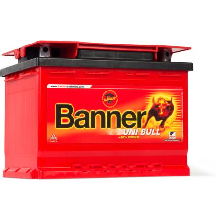 Bilbatteri 12V 58Ah Banner Uni Bull 50200. LxBxH:241x175x175mm Bäst i Testfakta 2013 och 2015 EAN 9005753005655