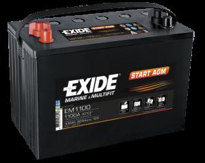 Startbatteri 100Ah AGM Tudor Exide EM1100 LxBxH:330x175x240mm Orbital teknologi