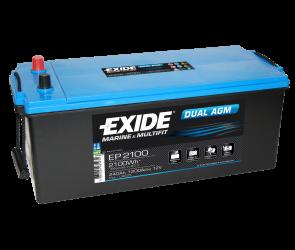 Fritidsbatteri 240Ah AGM Dual Tudor Exide EP2100 LxBxH 480/520x280x240mm