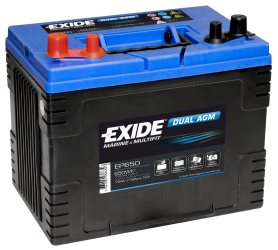 Fritidsbatteri 75Ah AGM Dual Tudor Exide EP650 LxBxH:255x175x222mm