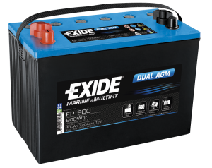 Fritidsbatteri 100Ah AGM Dual Tudor Exide EP900 LxBxH:330x175x240mm